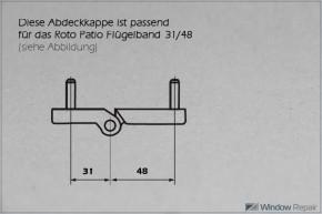 Abdeckkappe für Flügelband 31/48 weiß